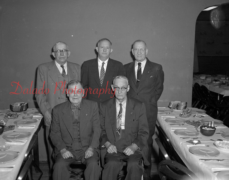 (01.27.55) Retired Shamokin railroaders, representing 179 years of railroad service and 302 years of longevity are, front row, from left, Charles Ford, 81, 40 years; Jacob Shroyer, 79, 41 years; back, William Strohecker, 71, 50 years; James Powell, 48 years; and Herb Pensyl, 71, 48 years.