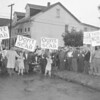 (July 1960) Members of Coates Coal Co., Centralia, picket after repeated failures between the company and District Nine, UMWA, and the trustees of the Anthracite Health and Welfare Fund. Workers claimed the company has not paid into the fund during 1959 and 1960.