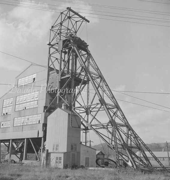 (01.03.57) Abandoned Reliance shaft and cleaning plant. The shaft, when in full operation, was one of the deepest in this section of the region. Removal of tipple.
