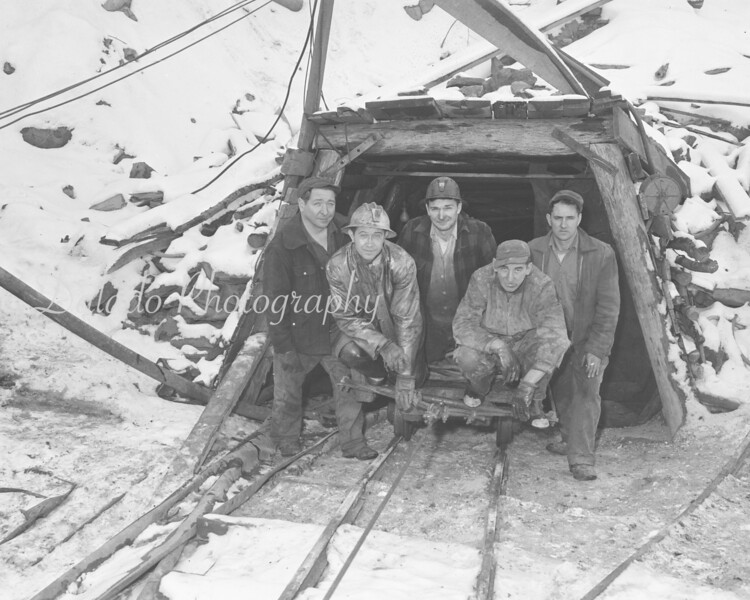 (01.24.57) Preparing to descend the slope are Gap Colliery employees, from left, Paul Scido, Eugene Stewart, Anthony Racilla, Bernard Pinkoski and Charles Nalewak, operator of the mine.