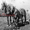 (1914) Harry Weise is shown plowing a field on the G.W. Lewis farm in Irish Valley. He is cutting the furrow with a neat slice. The horses are covered with fly netting to keep the flies away.