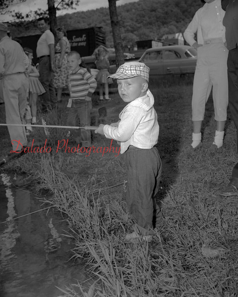 (06.26.1958) Zerbe Rod and Gun Club derby on June 26, 1958. Two-year-old Darwin Latsha, of Trevorton, youngest fisherman.