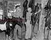 (07.08.54) Trevorton Pony hitch being groomed for the show at the J. and J. Pony Farms. The six ponies were being trained by Johnny Faieri, John Tosh, the stable groom, and John Klinger Jr.