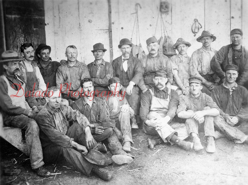 Trevorton Powder Company- Identified are, front row, from left, John Gessner, Adam Fry, Web Wingate, Elmer Troutman and Alfred (Punch) Hines; back, Fred Lupolt, Howard (Houtz) Miller, Jacob Shaw, Warren (Zoot) Maurer, Reuben Miller and Alfred (Pet) Herr.