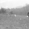 (April 1960) Lester Honicker was believed to have been killed when his home blew up in Bear Gap.  Uprooted trees lay haphazardly in the blasted area, like giant spokes of a wheel radiating from the center of the blast, likely caused by a powder magazine.