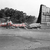 (Aug. 1955) Tearing down the Strong railroad bridge.