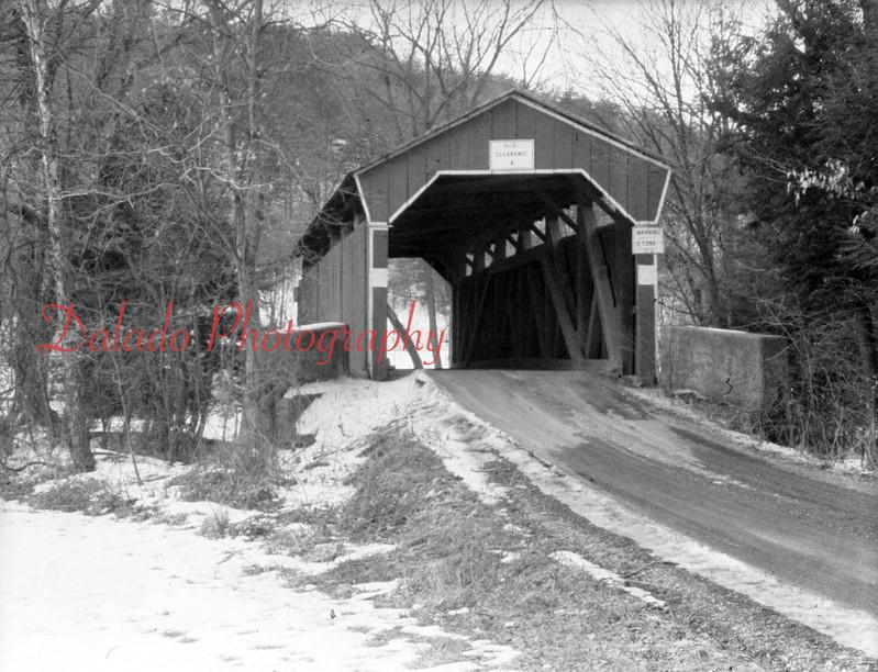 (Feb. 1953) Covered bridge at Jepko's Golf Course.