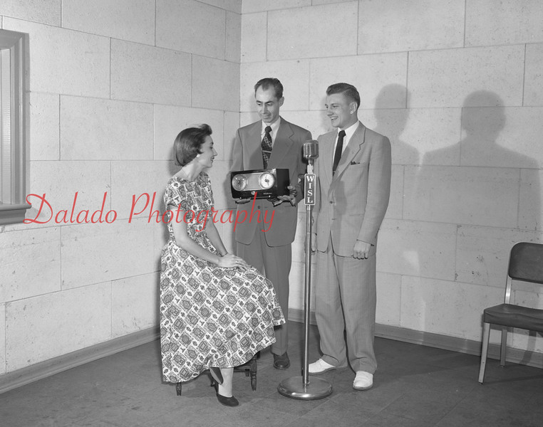 """(May 7, 1958) """"WISL photo for Miss Ecker."""" Pictured is Tom Kollins, who worked at WISL from 1953 to 1957."""