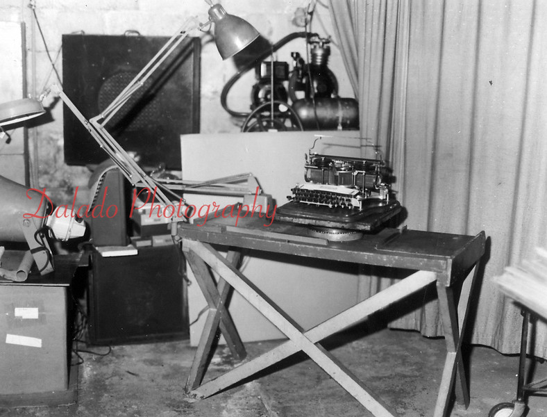 Emerson Hollenback's work station for repairing typewriters.