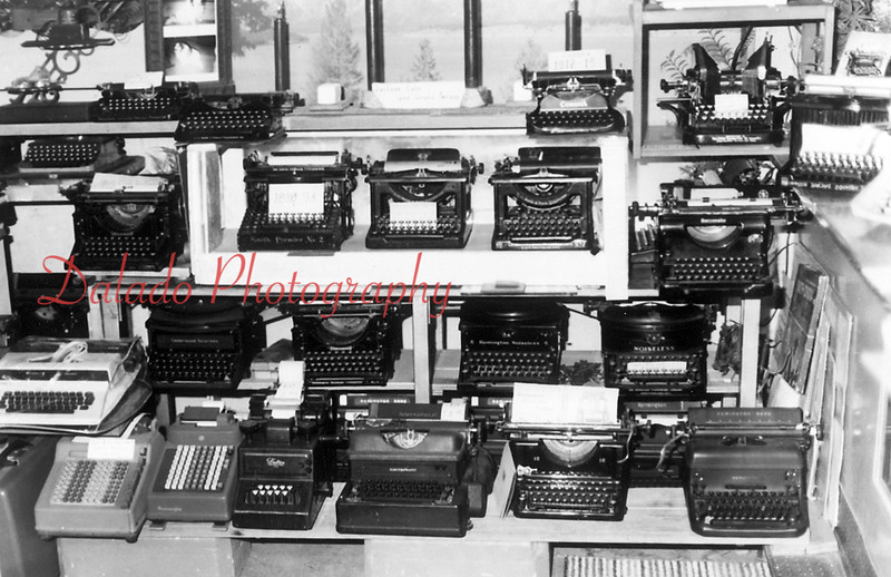 Emerson Hollenback's collection of typewriters.
