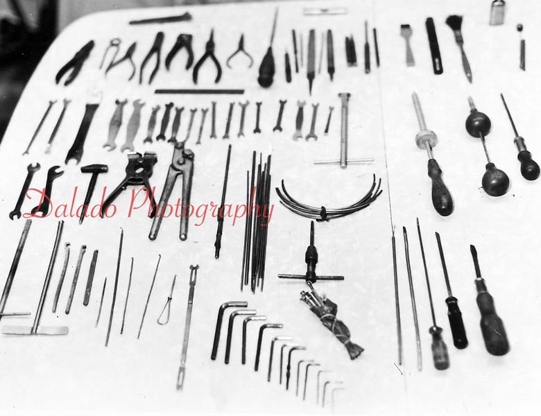 Emerson Hollenback's tools needed to repair typewriters.