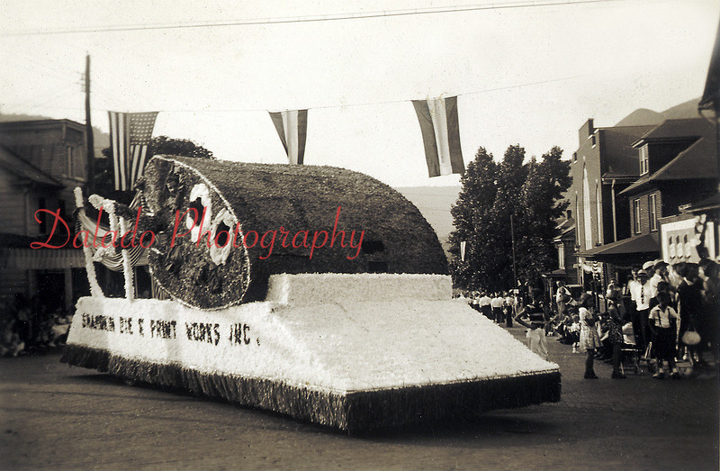 (1939) A Shamokin Dye & Print Works float making a turn at Spruce and Second streets during the Diamond Jubilee Parade. That year was Shamokin's 75th Anniversary of being incorporated.