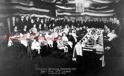 (03.23.1921) Mr. and Mrs. H.T. Lewis 50th Wedding Anniversary at Nick Brokenshire's house.