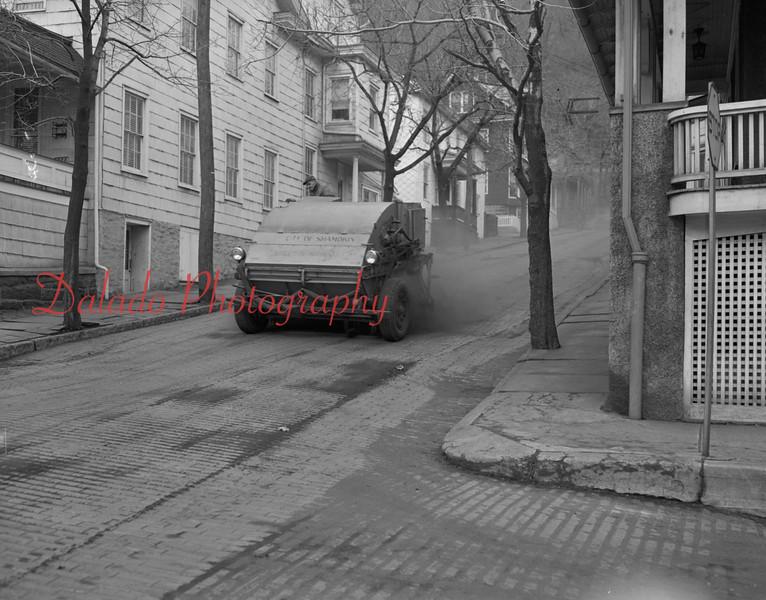 (Feb. 1956) Street sweeper on Liberty Street above Dewart.