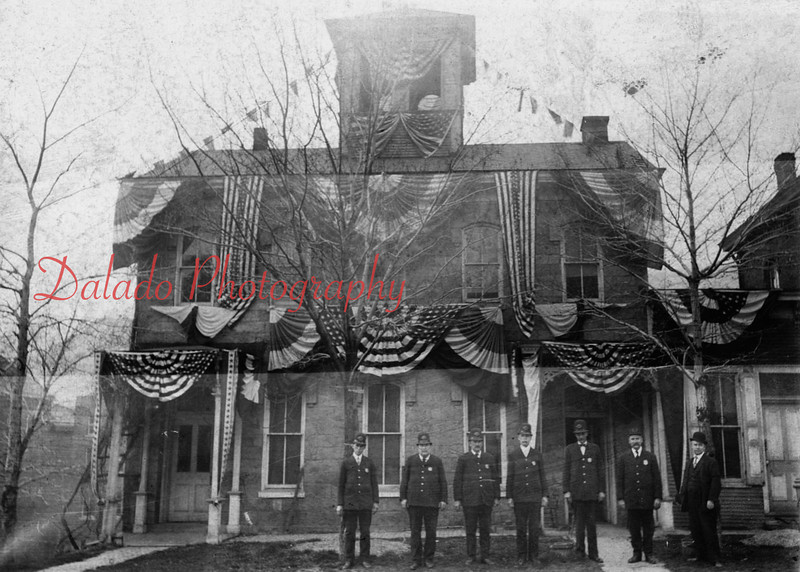(10.1908) Here is a photo of police officers taken in front of City Hall during the Firemen's Convention in Shamokin. Pictured, from left, are R. Jermiah, Joe Payne, Will Jackman, J. Condron, Paddy Long, W. Gilliam and Tom Roberts.