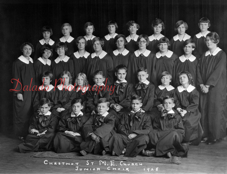 (1928) Chestnut Street Methodist Church Junior Choir are, front row, from left, Steve Thomas, Carl Thompson, Marhsall Jackson, Vaughn Reed and Lamar Reed; second, Niad Tarsus, Margaret Price, Betty Price, Fred Thomas, Charles Hand, Robert Haupt, Harriet Mowery and Ida Jane Walch; third, Mrs. Harry Weitzel (director), Martha Madara, Dorothy Welker, Louise Atkinson, Hope Thomas, Dorothy Lehman, Elizabeth Dyer, Tamson Renn, Jane Ditchfield, Martha Derrick (accompanist); back, Edna Dinger, Peggy Johns, Dorothy Buery, Grace Shade, Dolores McClain, Mabel Wilhour, Carrie Dinger and Elinore Atkinson.