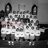(04.07.1955) Presentation of an illuminated cross was made by Emmanuel Evangelical U.B. Church, Tharptown, and presented by the following children: Front, Carol Chamberlain, Robert Taylor, Ruby Deitrick, Joyce Kline, Mildred Saliski, Doris Hovenstine, Dorothy Hovenstine and Helen Zigner; second, Janice Orner, Jimmy Zigner, Harry Derk, Mrs. R.S. Heberlig, Kenneth Zigner, Nettie McKinney and Jerrilyn Lindermuth; third, Mrs. John Kline, Marlene Dietz, Carole Black, Faye Culp, Carolyn Alleman, Gale Wheary and Mrs. G.S. Frederick; fourth, Grace Evans, Barbara Pensyl, Donna Derk, William Albright, Robert Kline, Robert Walter, Judy Clark and Linda Leiser; back, Joan Munson, Sandra Hummel, Darwin Marquette, Ronald Wendt, Eileen Shipman and Sandra Culp.