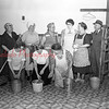 (04.05.51) Women of Emmanuel Evangelical U.B. Church, Tharptown, prepare to clean the recreation room. Pictured are, kneeing, from left, Bessie Walters, Grace Woodley and Christina Deitz; standing, Eva Walters, Betty Heberlig, Emma Spotts, Leona Brady, Bessie Dobson and Rev. R.S. Heberlig, pastor.