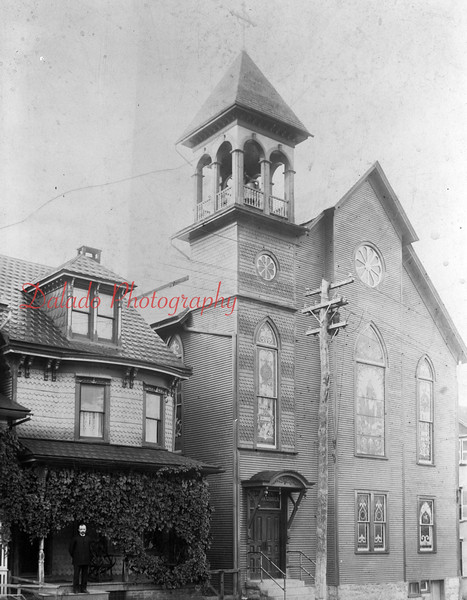 "Grace Lutheran Church- This church was organized on Oct. 31, 1885 at Seiler's Hall on Spruce Street. On March 4, 1887, Rev. William Weichsel was elected pastor. Lots at the corner of Seventh and Chestnut streets were purchased for $3,600. On Nov. 19, 1893, a church (seen here) measuring 30-by-50-foot was built. The church was destroyed by fire on Feb. 20, 1955. <a href=""http://www.daladophotography.com/The-Thomas-Collection/Old-Fire-Fighting/3333623_xc79SC#!i=1321288274&k=TCccCtH&lb=1&s=A"">http://www.daladophotography.com/The-Thomas-Collection/Old-Fire-Fighting/3333623_xc79SC#!i=1321288274&k=TCccCtH&lb=1&s=A</a>"