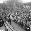 (05.03.59) Hundreds of members of Our Lady's Parish turned out for the annual May Procession, held in Town Park and then in the church. Mount Carmel Catholic High School upcoming graduates wore cap and gowns for the first time.