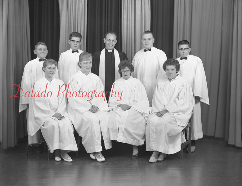 St. Mark's Lutheran Church, N. Market St., Elysburg. Rev. Philip Lupold; Trudy Fisher, front row, second from left; Sandy Long, front row second from right; Judy Woodruff, front row, first on right. Confirmation Class.