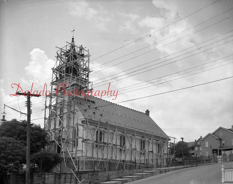 (07.19.53) Work on St. John the Baptist Church, at Second and Willow streets, Mount Carmel.
