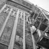 (1957) Glass cleaning at First Methodist Church in Mount Carmel.