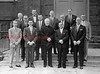 (11.17.1955) Chairman who helped the drive for funds for Villa Vianney, the home for aged priests, on Nov. 17, 1955. Pictured are, first row, from left, Robert Dubbe, Albert Kotkoski, most Rev. George Leech, Alvin Marcheski and Paul Sage; second, Joseph Bradley, Matt Strembo, William Keely, Edward O'Rourke;  third, Charles Bogdan, Felix Binkoski, Daniel Kearney and Samuel Sacus.