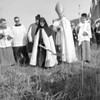 (10.18.59) Extern Sisters of the Discalced Carmelite Nuns greeted friends of their Order at groundbreaking ceremonies. Included among the dignitaries were, from left, Sister Mary of Jesus,  Charles Martel, Sister Ann Mary, Bishop George Leech, Msgr. Paul Weaver, Sister Veronica and Sister Monica.