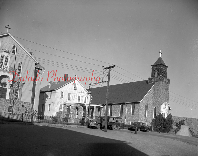 (1953) Built in 1871, St. Joseph's Church in Locust Gap is among the oldest placed of worship. The rectory, at left, was built years later.