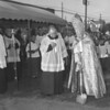 (May 1961) Groundbreaking ceremonies for the new St. Casmir's Church, Kulpmont, are shown. The Rev. George Leech, Bishop of Harrisburg, and the Rev. Alphonse Marcincavage, pastor, officiated during the ceremonies.