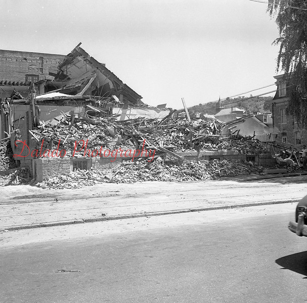 (July 1960) St. Edward's school building at Shamokin and Webster streets being razed. Plans are for a new $150,000 school.