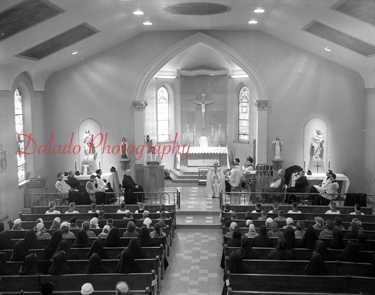 (12.04.58) Mass after blessing of new convent building, Webster and Vine streets, by the Rev. Lawrence Schott, aux. Bishop of Harrisburg. Recently remodeled structure was purchased by the parish in Sept. 1957 and the Sisters of St. Cyril and Methodius moved in the building in Feb. Delivering the sermon was Father Thomas Leitch, principal of the Central Catholic High School.