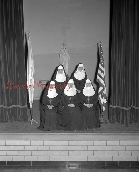 (1967) St. Mary's closing April 1967. Last teaching faculty in St. Mary's School. Pictured are Sister M. Theophane, Sister M. Sosan, Sister M. Irma, Sister M. Yolando, Sister M. Roberta.