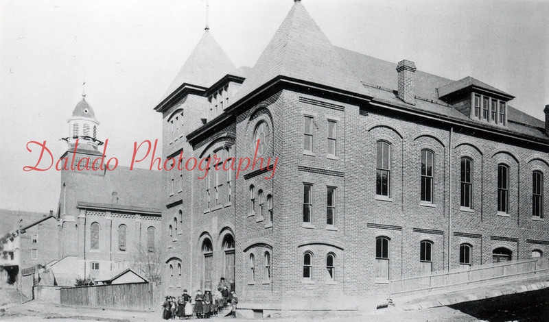 (1894) St. Stanislaus Parochial School & Church- About 1870, Rev. Joseph Juszkiewicz was sent to Shamokin by the bishop of the diocese for the purpose of organizing a congregation of Polish Catholics. A site on the corner of Vine and Race streets was chosen, and a small frame building was erected. In 1874, the foundation for a new church (seen here) were laid.