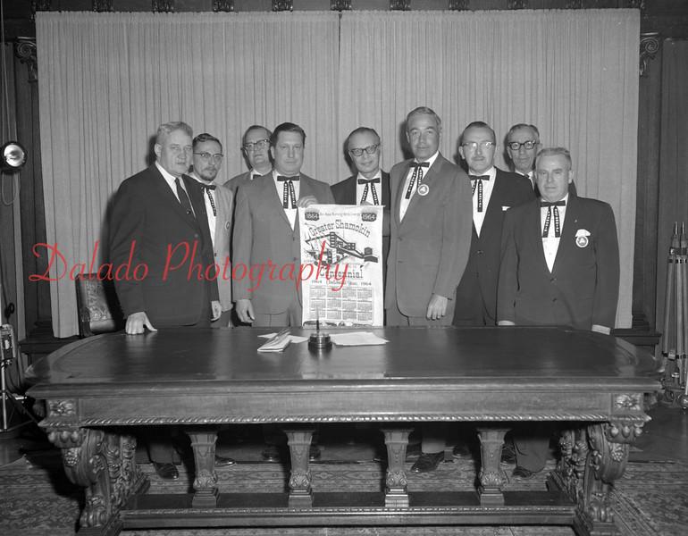 (1964) Members of the Shamokin Centennial Committee presenting a centennial calendar to Gov. William Scranton.