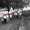 (May 1956) Shamokin students march in front of Stevens School following the school board's decision earlier this month to appoint John Estright as football coach. Estight was also hired as a physical education teacher. Jones held the coaching job for 9 years.