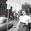 (1956, April through July) Woman near the Shamokin Citizen.