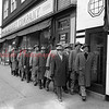 "(01.10.1952) Striking Prudential Insurance Co. agents maintain picket lines in front of the company's main office in Shamokin. The walkout, now in its second month, took on a new twist recently as agents are enlisting the support of the local office staff. Agents in other communities are seeking office employees to ""stay away"" from their jobs in sympathy of the striking agents."
