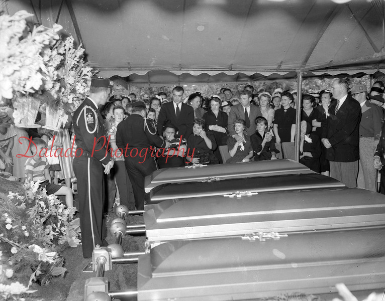 (08.06.1952) Scene at the SS. Peter and Paul Cemetery, Dooleyville, where mass funeral services were held on Aug. 6, 1952, for four members of the Mayernick family, Midvalley, who were killed in a auto crash Aug. 1.