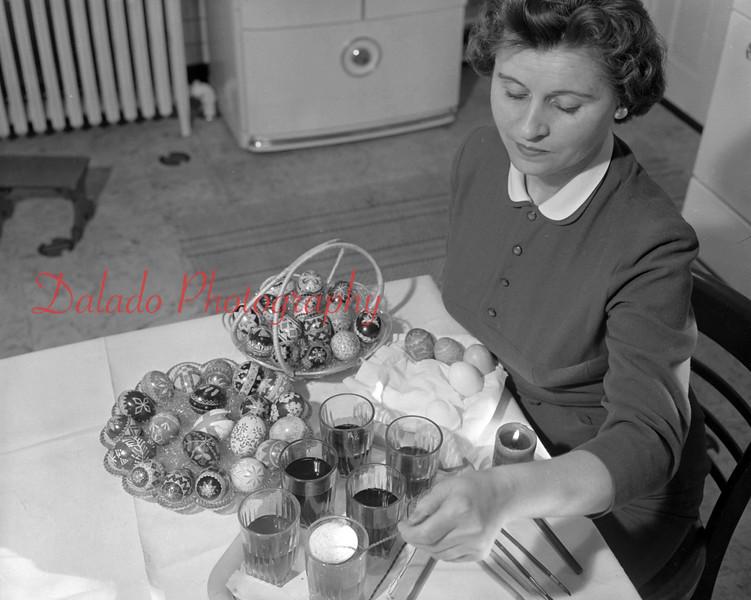 (May 1954) Pysanky egg making.