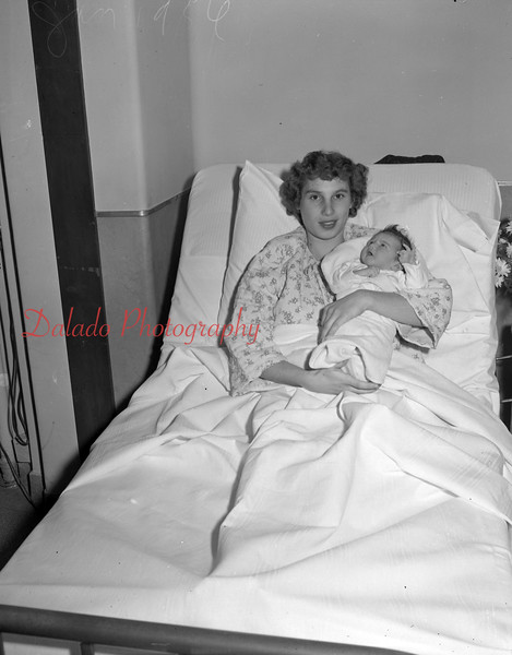 (Jan. 56) Mrs. Eugene Varano, 8 N. Franklin St. with first baby girl born in 1956 at Shamokin Hospital.