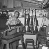 "(Feb. 1956) Leon ""Lindy"" Lunderman, who fashions stocks for guns. He had been engaged in this hobby for the past five years."