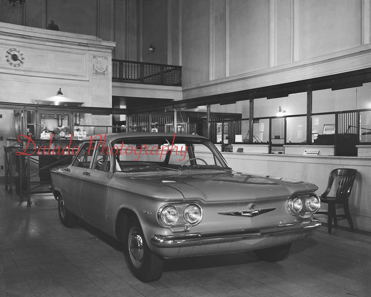 (1959) Car in a bank.