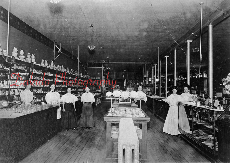 """Women working inside the Fair Store building- The Fair Store, along with both sides of a block of buildings, burned down in the great """"Fair Store Fire"""" on Dec. 16, 1916."""