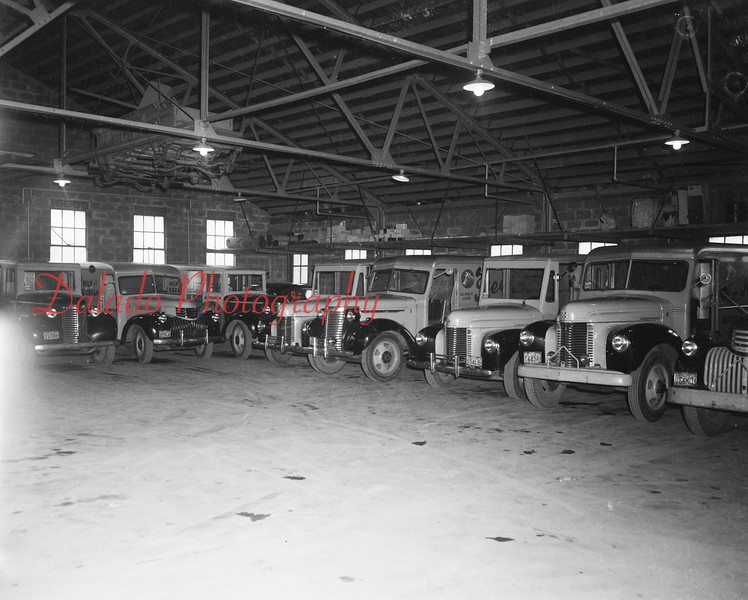 (1950) Reed's car fleet as shown in what is now the Coal Township warehouse.