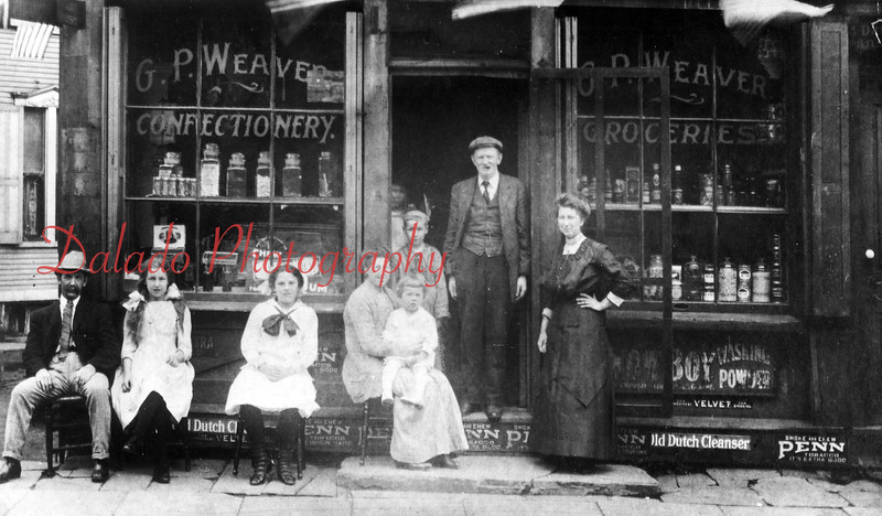 G.P. Weaver Confectionery- The store was on a triangular plot on Sunbury Street, across from the old Washington School, from WWI to 1920-30s.