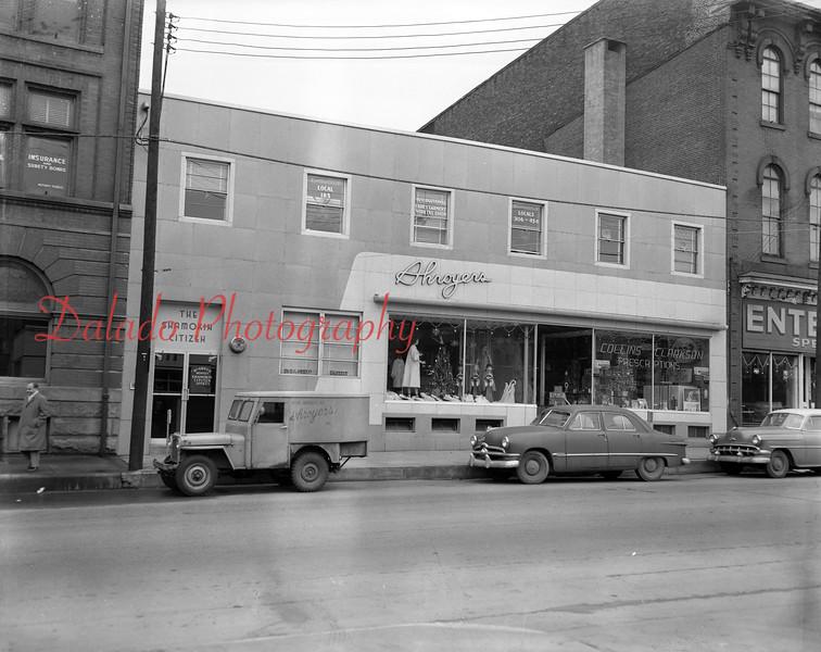 (1957) Shroyers Dress store along Sunbury Street.
