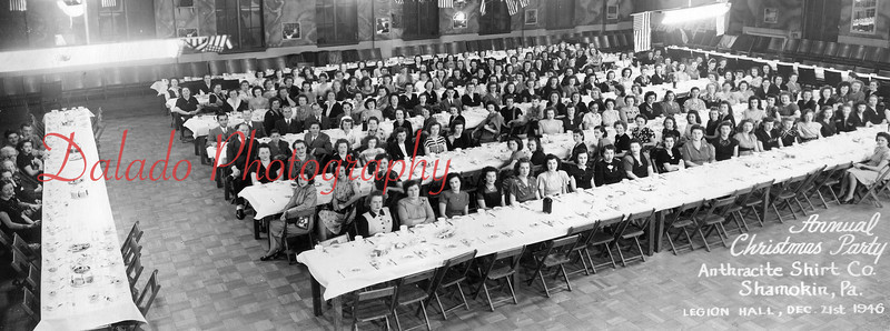 (1946) Annual Christmas Party for employees of the Anthracite Shirt Company at the American Legion Building (now the SYBL gym). Anthracite was located at Franklin and Chestnut streets in Shamokin.