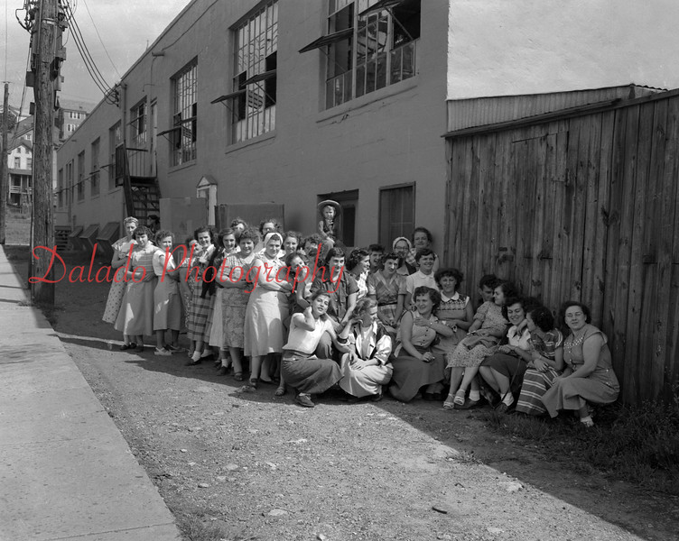 (August 1952) Women outside the Anthracite Shirt Factory, in the Fifth Ward.